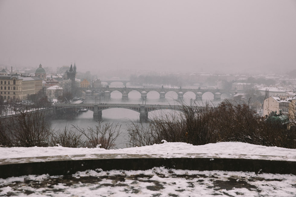 snowy surprise proposal prague